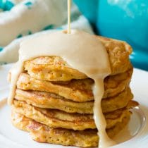 Fluffy Easy Carrot Cake Pancakes with Cream Cheese Maple Syrup Recipe (Gluten Free & Vegan Options!)
