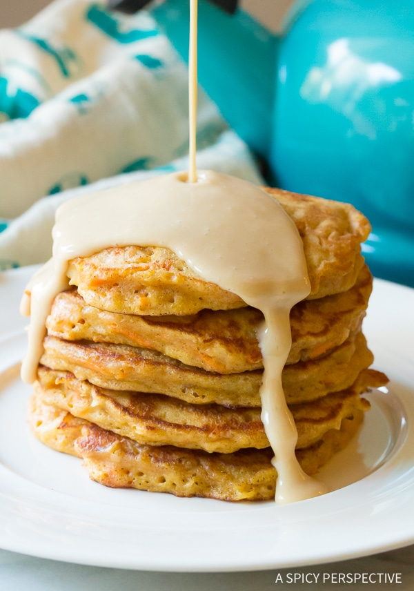 Fluffy Carrot Cake Pancakes with Cream Cheese Maple Syrup Recipe (Gluten Free & Vegan Options!)