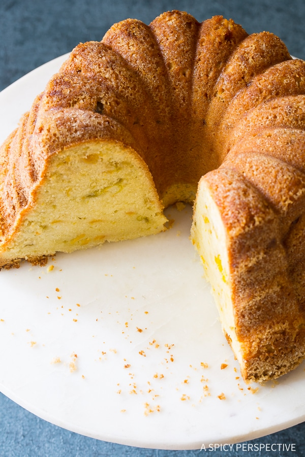 Spicy-Sweet Green Chile Peach Pound Cake Recipe