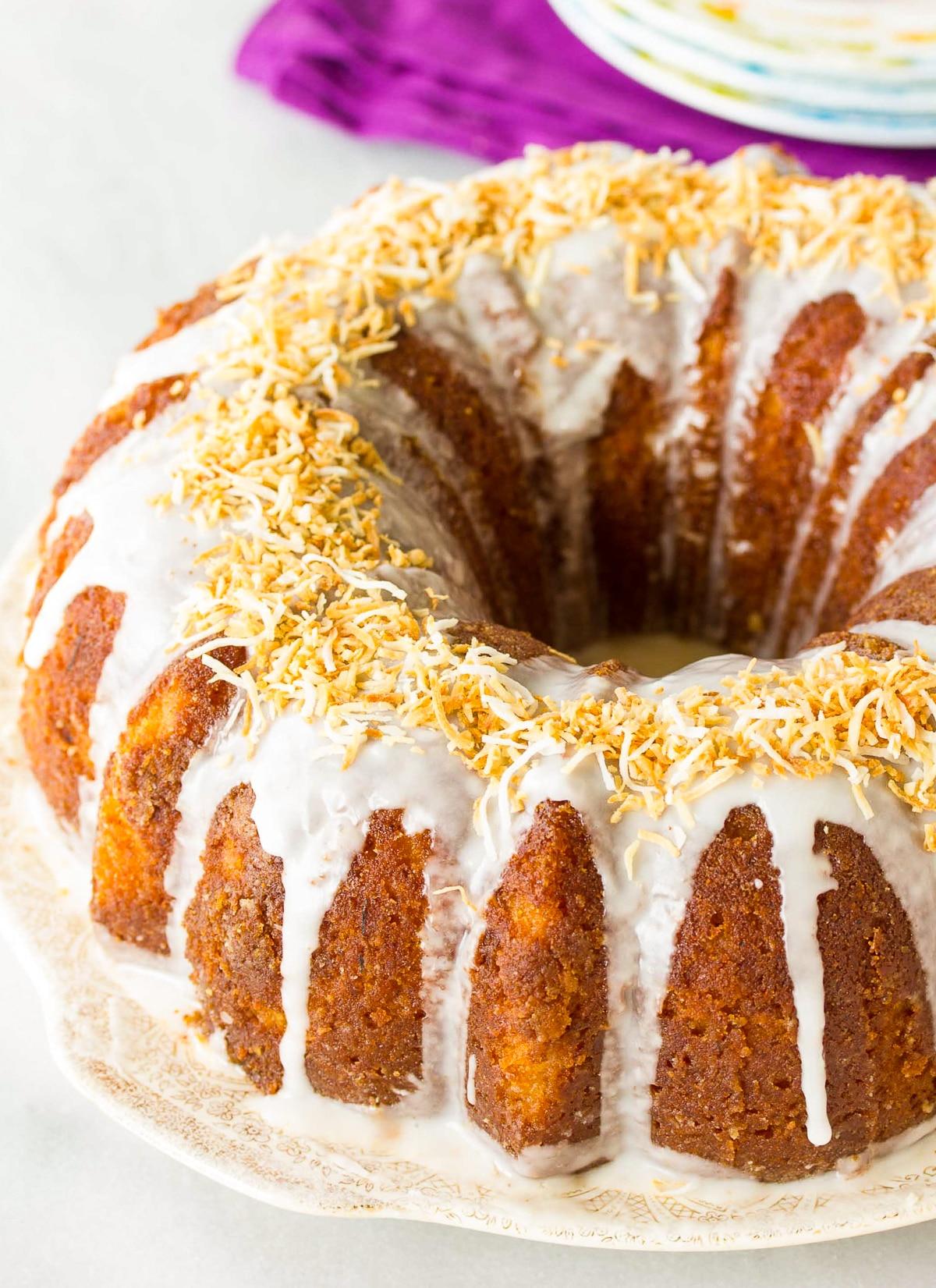 Spiced Rum Cake Recipe #ASpicyPerspective #bundtcake #spicecake #rum #rumcake #caribbean #holiday #coconut #pineapple