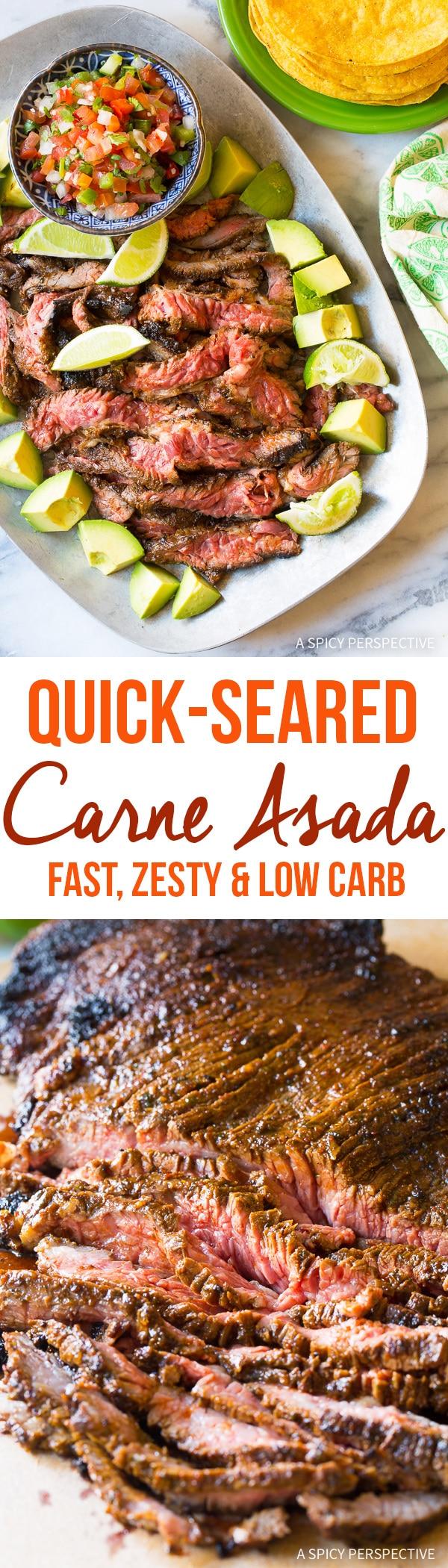 Authentic Quick-Seared Carne Asada Recipe (Low Carb!)