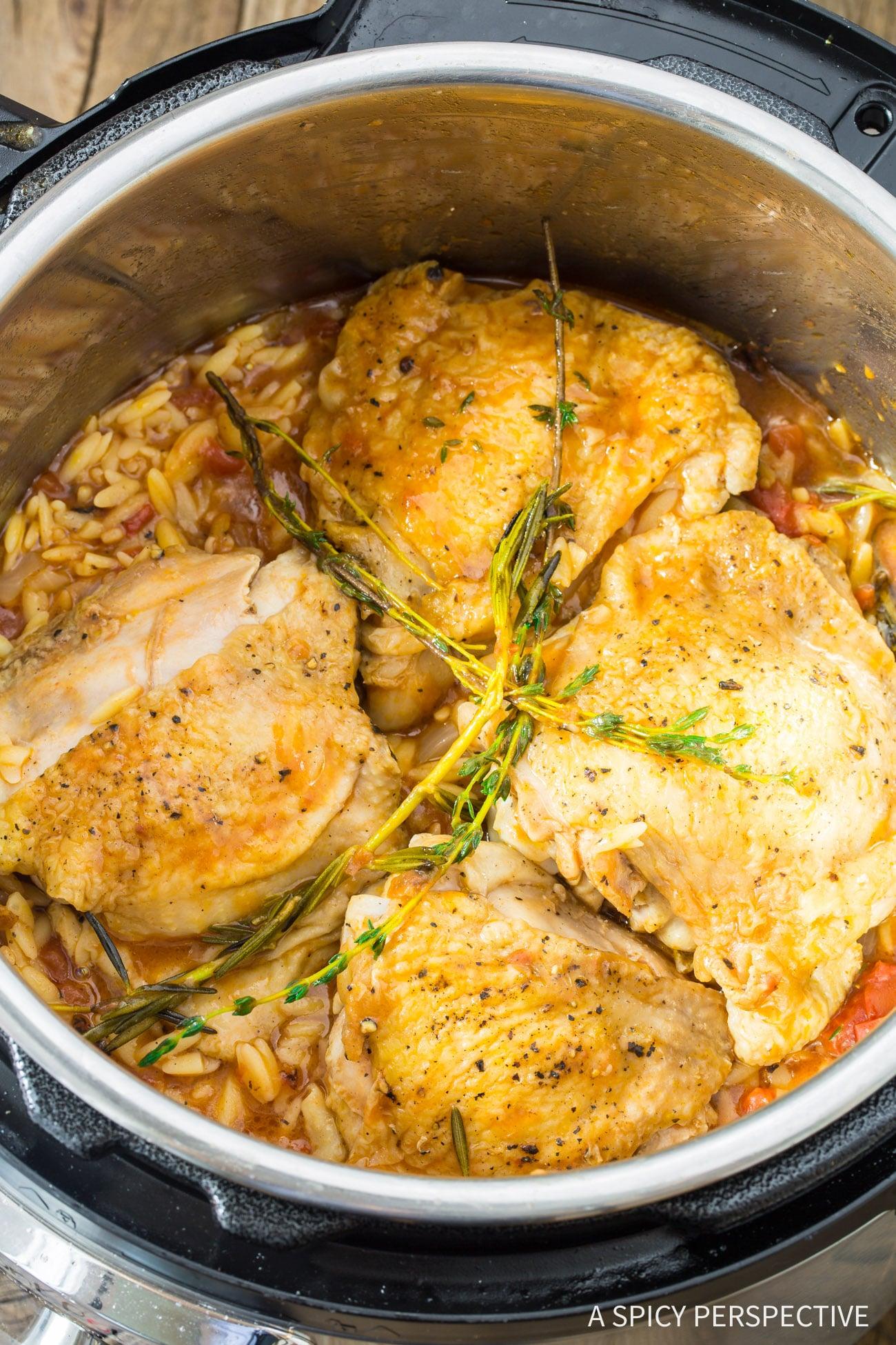 Prepping Instant Pot Herb Chicken Orzo Recipe (Pressure Cooker Italian Pasta)