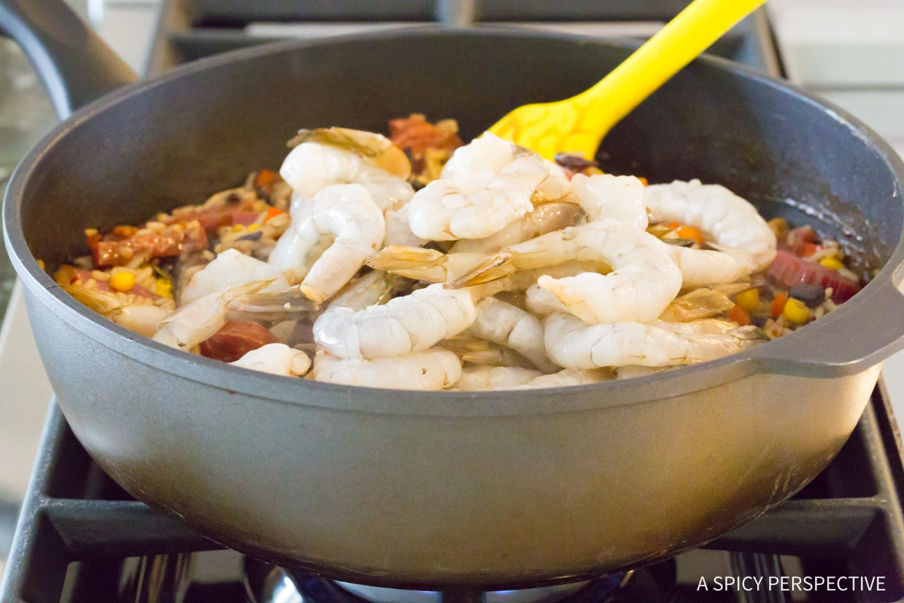 Step 2: One-Pot Shrimp Black Bean Rice Skillet Recipe