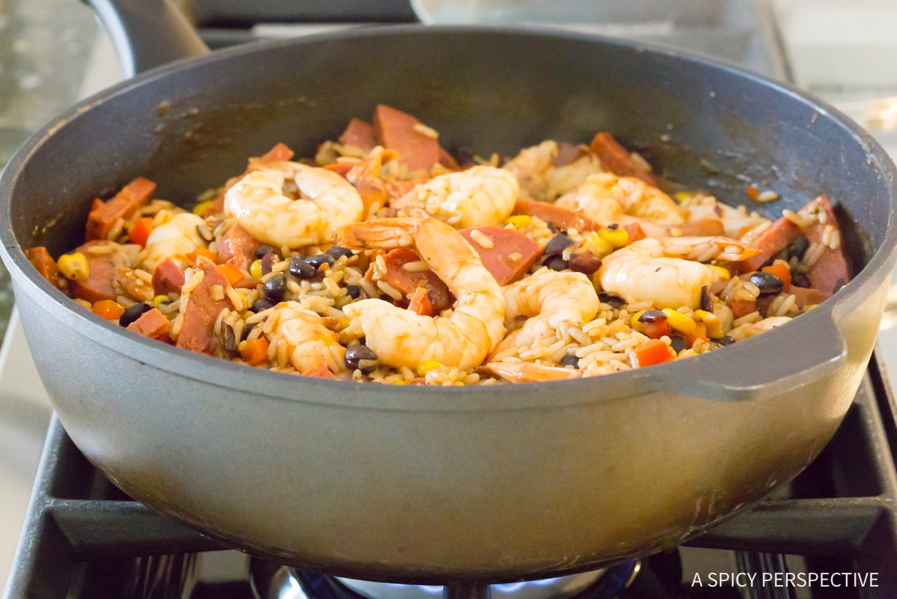 How to Make: One-Pot Shrimp Black Bean Rice Skillet Recipe