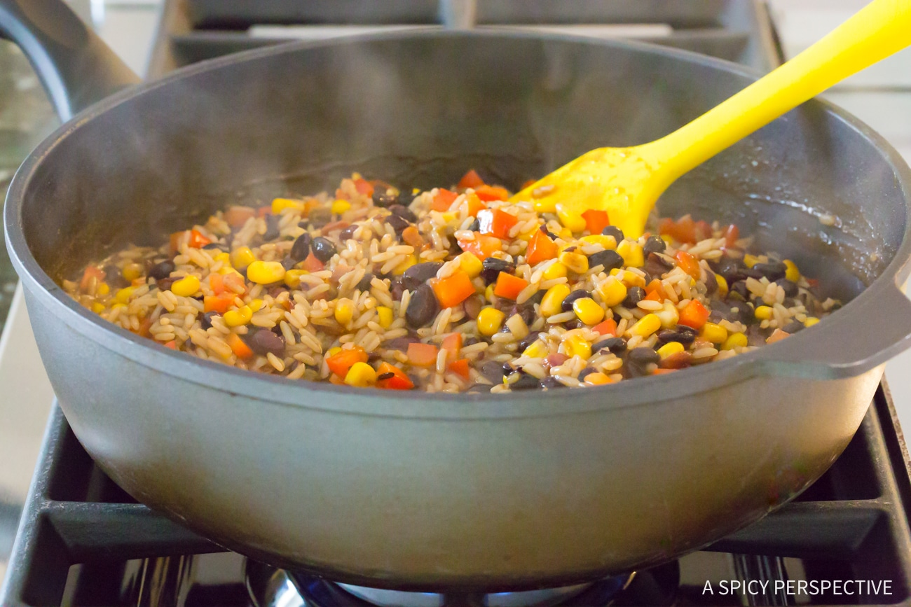 Prep: One-Pot Shrimp Black Bean Rice Skillet Recipe