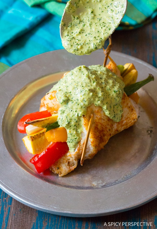 Bold Peruvian Baked Chicken and Vegetable Roll Ups Recipe