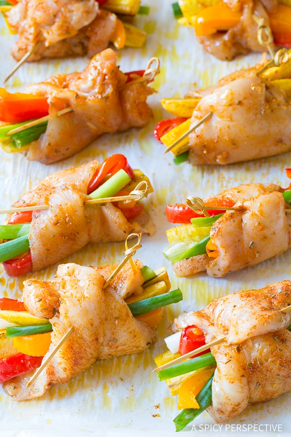 Cooking Peruvian Baked Chicken and Vegetable Roll Ups Recipe