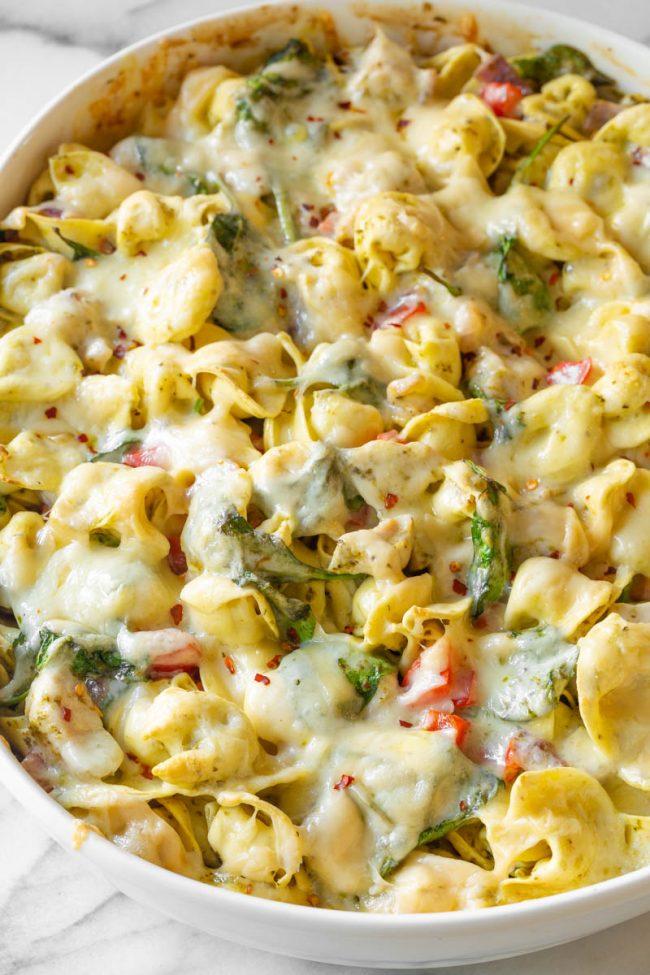easy pesto chicken tortellini in dish