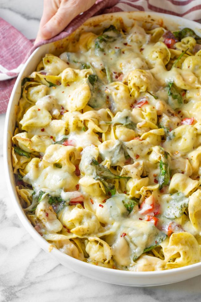 baked pasta dish in a casserole dish