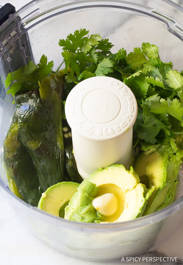 Easy Healthy Roasted Poblano Avocado Dip Recipe - Low carb, Dairy Free, Gluten Free & Vegan!