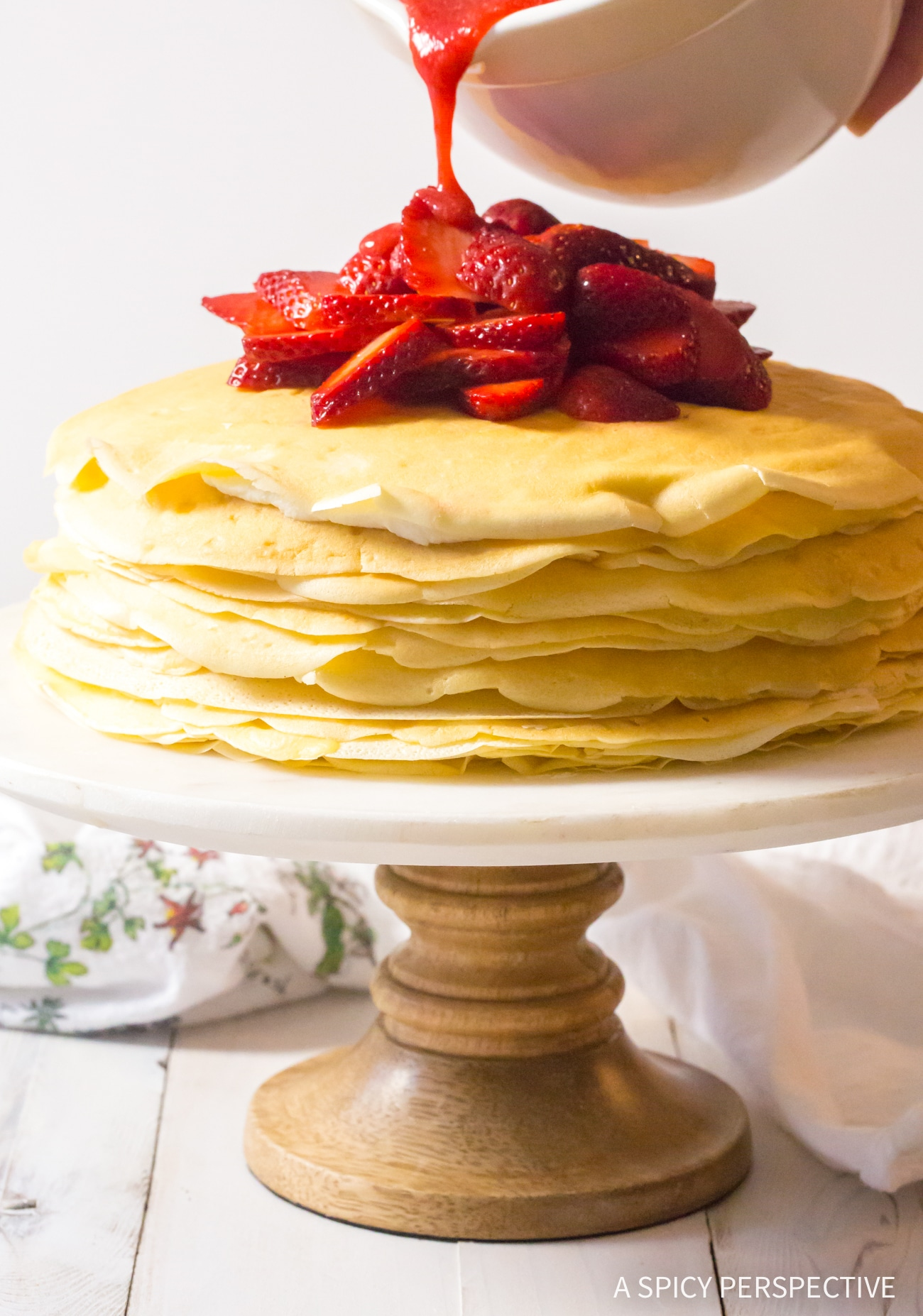 Best Lemon Ricotta Crepe Cake with Strawberry Sauce Recipe (Mother's Day Brunch!)