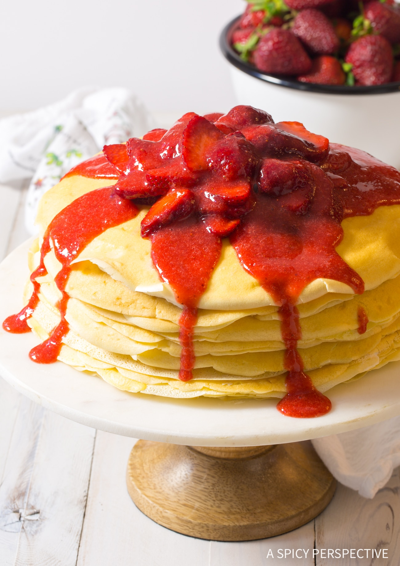Elegant Lemon Ricotta Crepe Cake with Strawberry Sauce Recipe (Mother's Day Brunch!)
