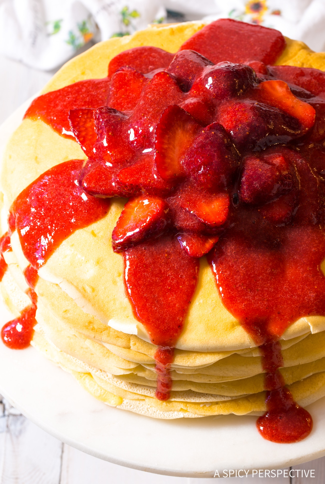 Dazzling Lemon Ricotta Crepe Cake with Strawberry Sauce Recipe (Mother's Day Brunch!)