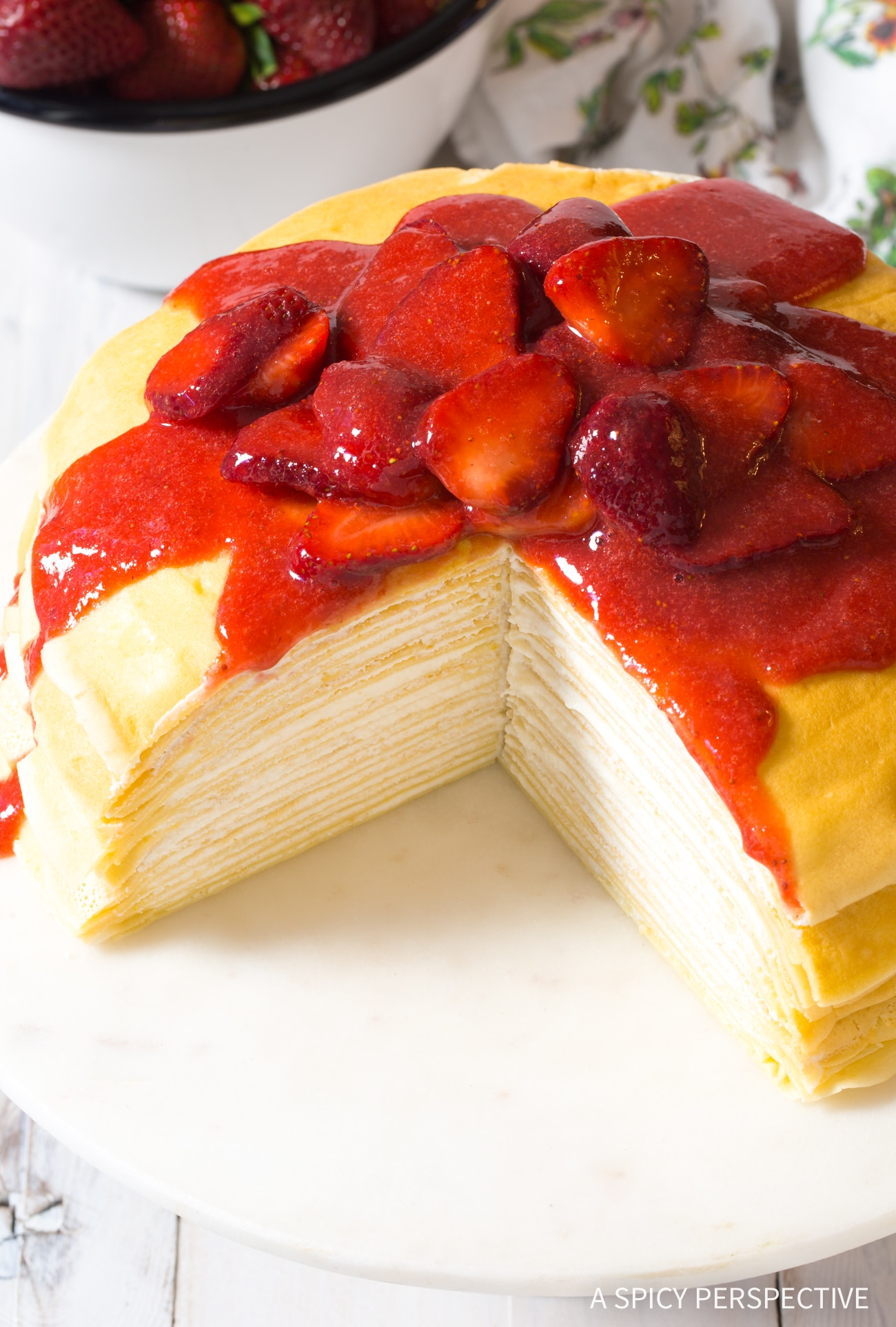 Fabulous Lemon Ricotta Crepe Cake with Strawberry Sauce Recipe (Mother's Day Brunch!)