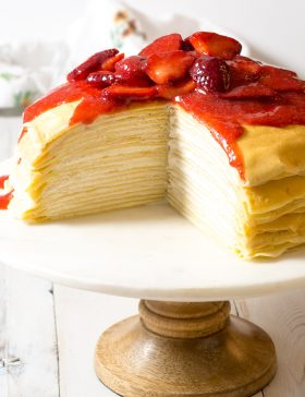 Lemon Ricotta Crepe Cake with Strawberry Sauce Recipe (Mother's Day Brunch!)