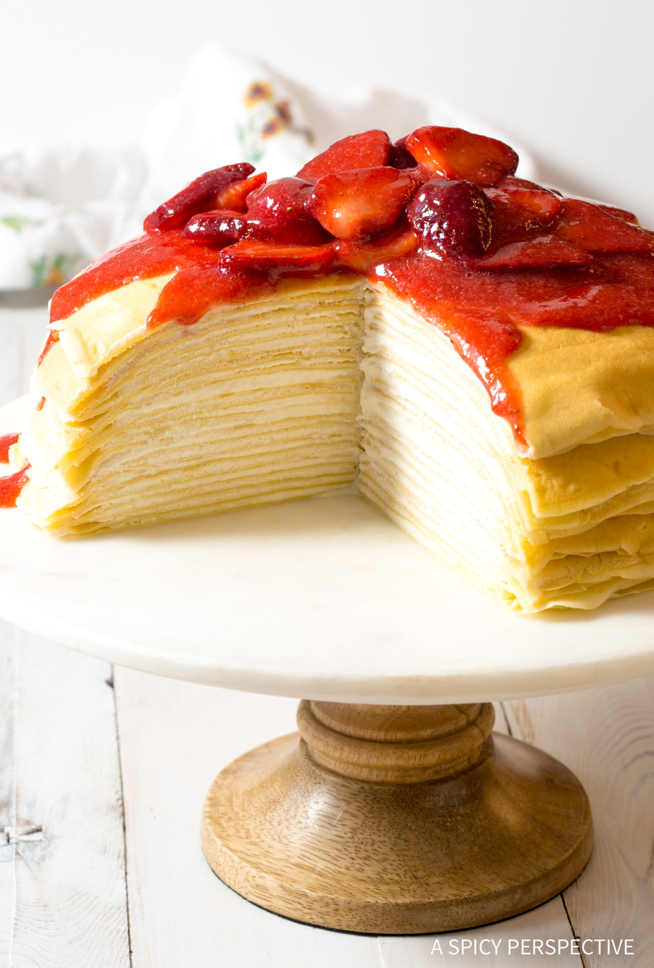 Lemon Strawberry Crepe Cake Recipe