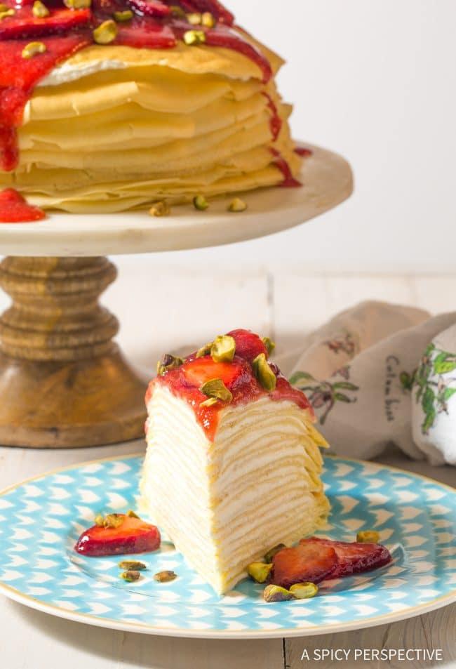 Brilliant No-Bake Lemon Ricotta Crepe Cake with Strawberry Sauce Recipe (Mother's Day Brunch!)