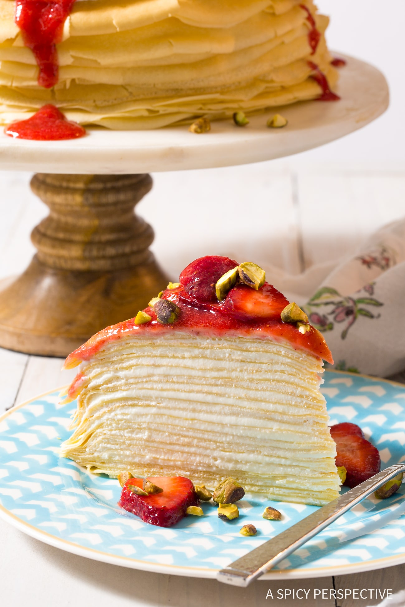 The Best Lemon Ricotta Crepe Cake with Strawberry Sauce Recipe (Mother's Day Brunch!)