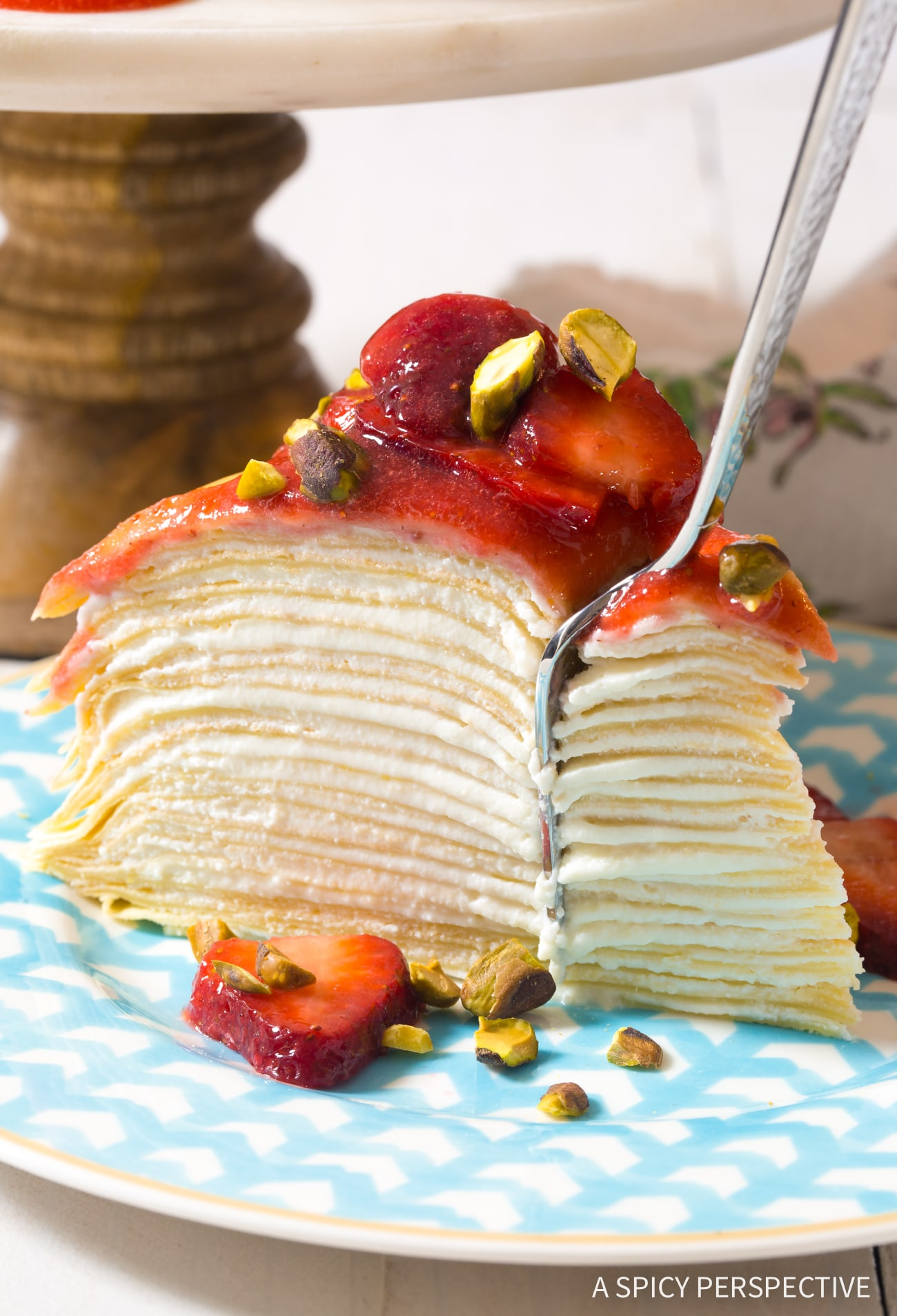 Delicate Lemon Ricotta Crepe Cake with Strawberry Sauce Recipe (Mother's Day Brunch!)