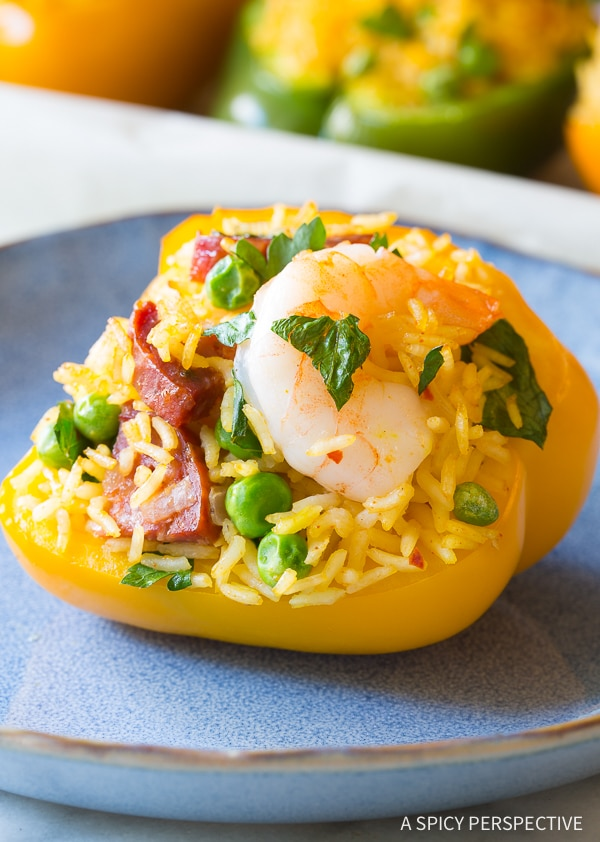 Spicy Paella Stuffed Peppers Recipe