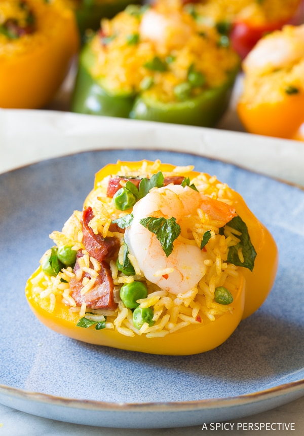 Paella Stuffed Peppers Recipe