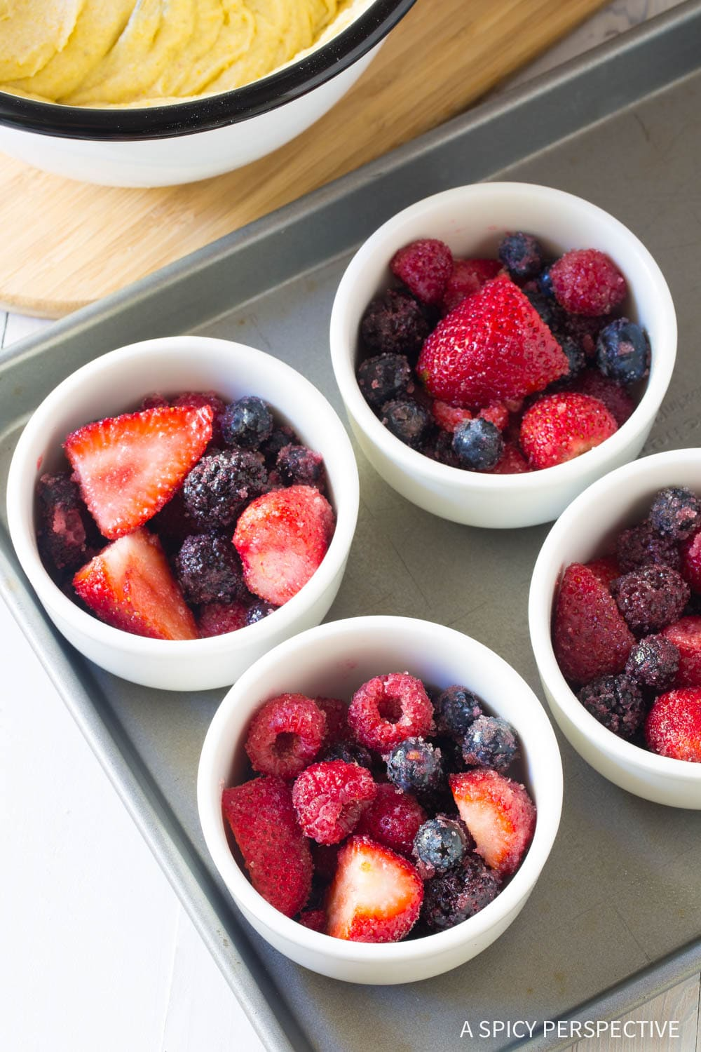 Fresh Mixed Berry Cobbler Cups Recipe with Fluffy Cornmeal Crust #ASpicyPerspective #summer #berries