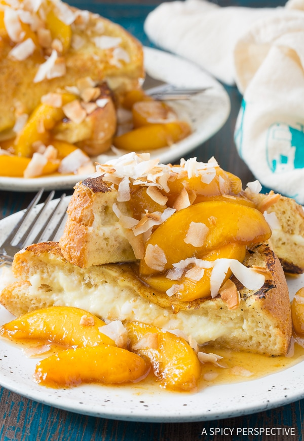 Perfect Peach Pina Colada Stuffed French Toast Recipe