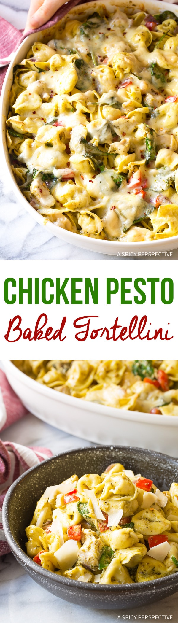 Cheesy Pesto Chicken Baked Tortellini Recipe