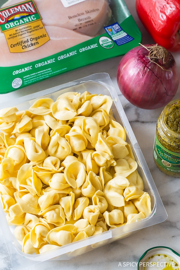 Making Pesto Chicken Baked Tortellini Recipe