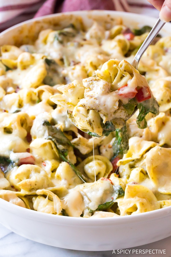 Creamy Pesto Chicken Baked Tortellini Recipe