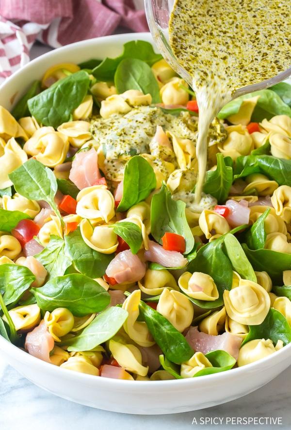 How To Make Easy Pesto Chicken Baked Tortellini Recipe