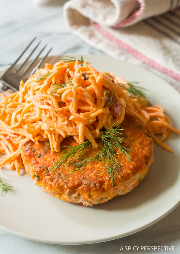 Salmon Burgers with Sweet Potato Slaw Recipe for Summer!