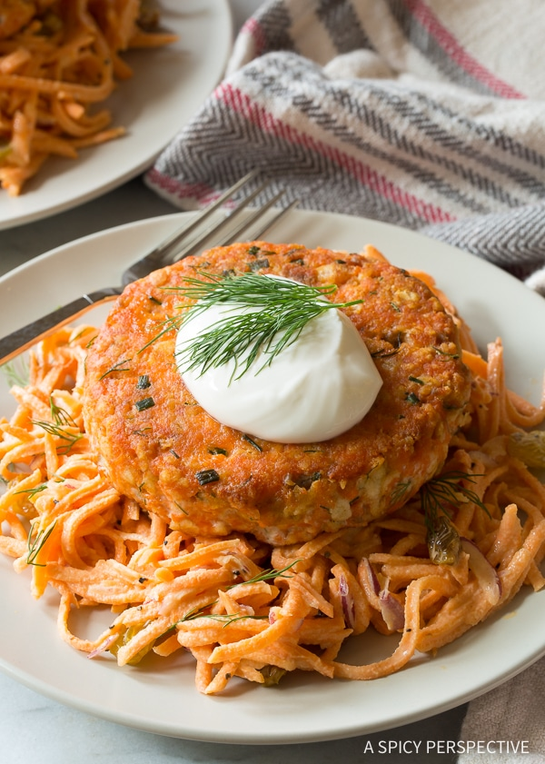 Healthy Salmon Burgers with Sweet Potato Slaw Recipe for Summer!