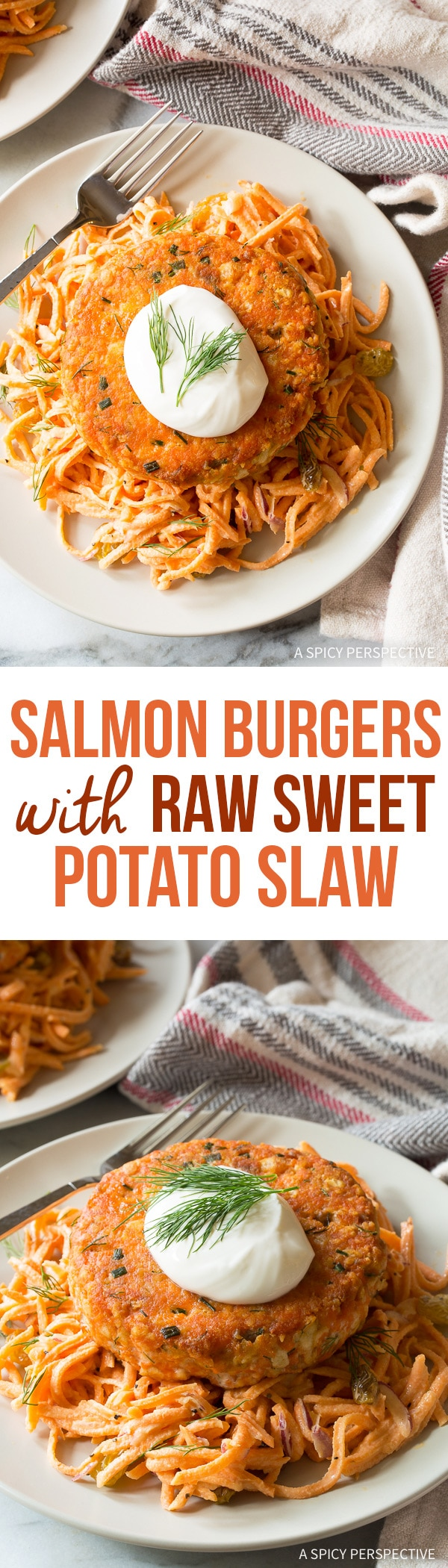 Zesty Salmon Burgers with Sweet Potato Slaw Recipe for Spring!