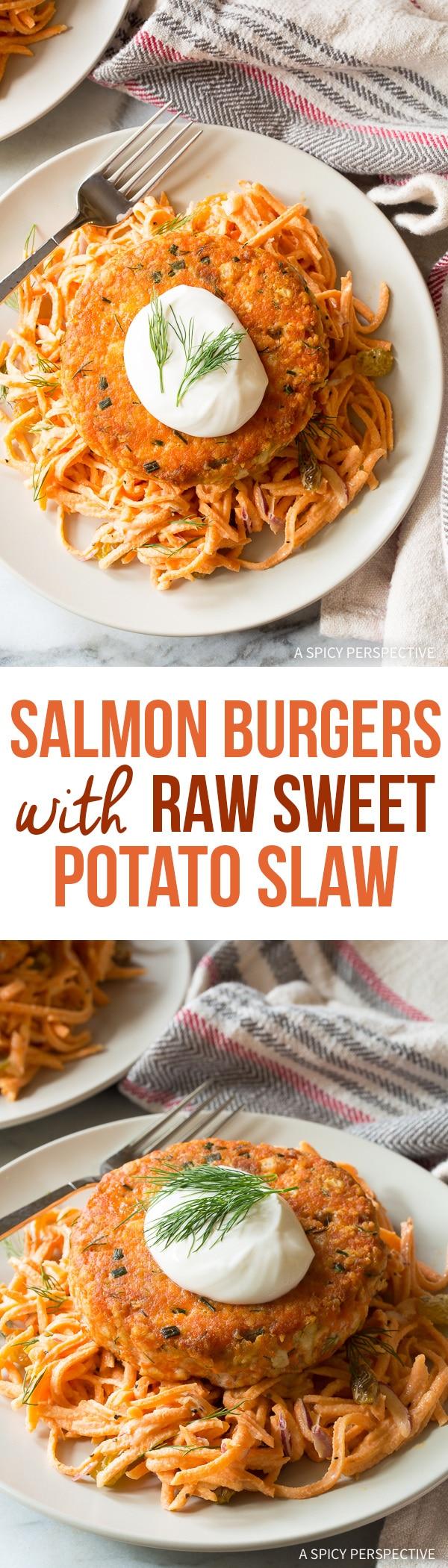 Zesty Salmon Burgers with Sweet Potato Slaw Recipe for Spring!