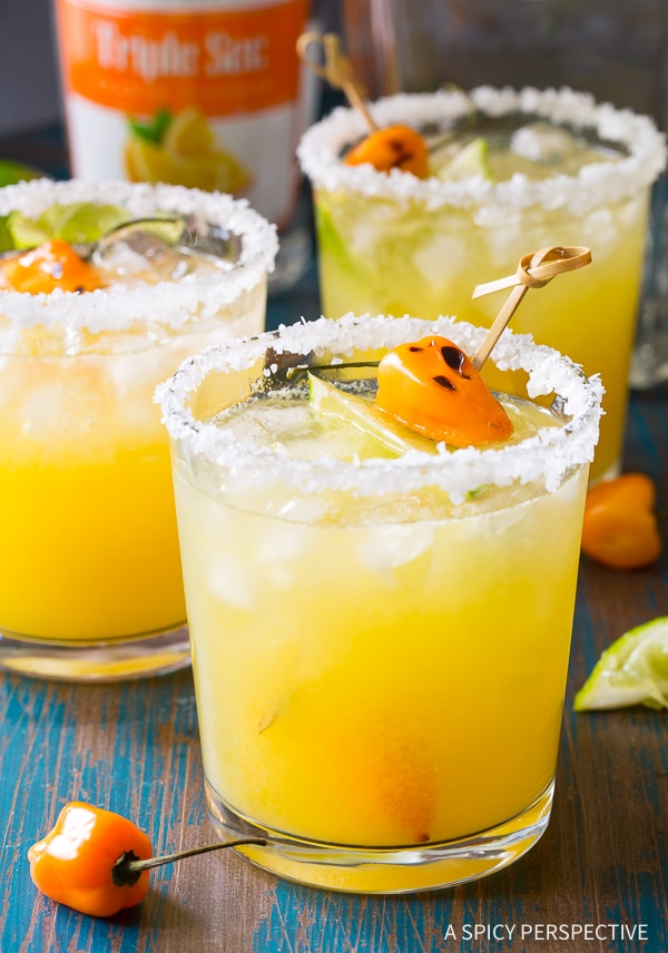 Perfect Spicy Habanero Pineapple Margaritas Recipe for Cinco de Mayo and summer parties!