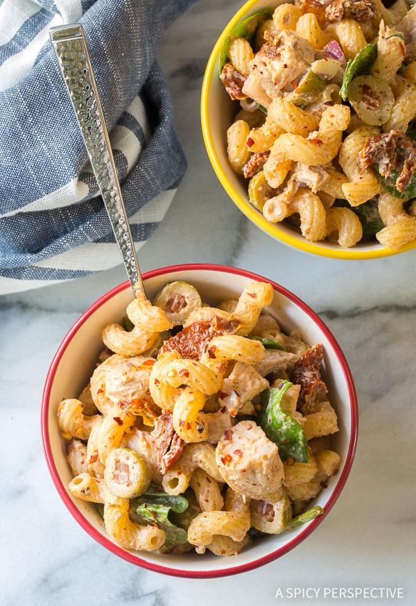 Perfect Sun Dried Tomato Chicken Pasta Salad Recipe #Summer