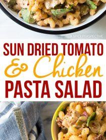 Zesty Sun Dried Tomato Chicken Pasta Salad Recipe #Summer