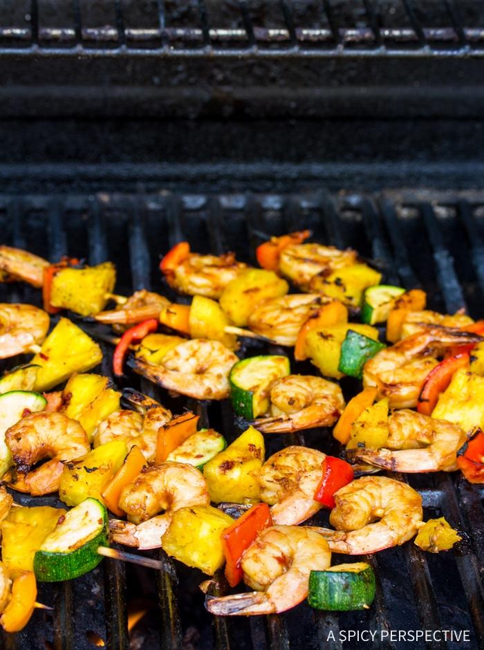 Best Teriyaki BBQ Shrimp Skewers Recipe #ASpicyPerspective #healthy