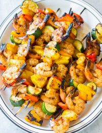 Teriyaki BBQ Shrimp Skewers Recipe #ASpicyPerspective #healthy