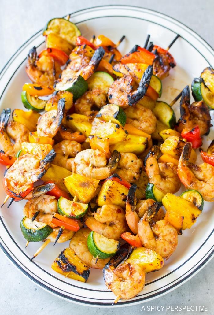 Teriyaki BBQ Shrimp Skewers Recipe #ASpicyPerspective #healthy