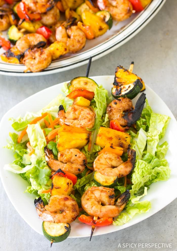Skinny Teriyaki BBQ Shrimp Skewers Recipe #ASpicyPerspective #healthy