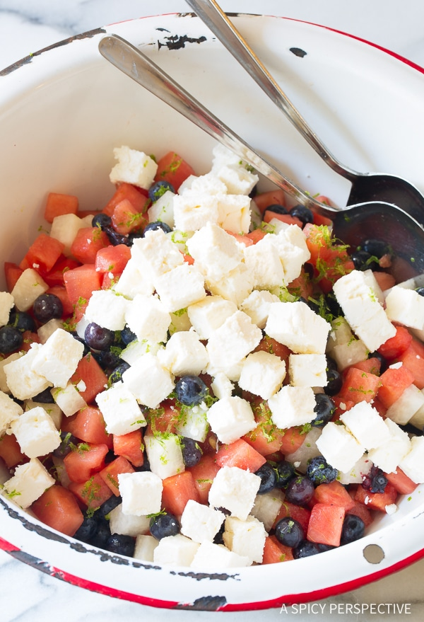 Crunchy Red White and Blue Chopped Salad Recipe for Independence Day! (Strawberry, blueberry, jicama and feta cheese!) #July4th