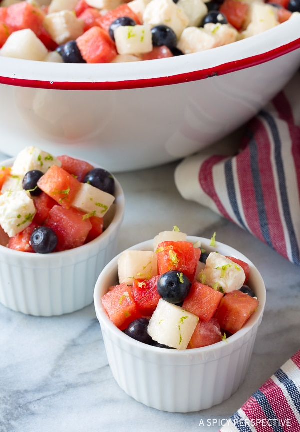 Perfect Red White and Blue Chopped Salad Recipe for Independence Day! (Strawberry, blueberry, jicama and feta cheese!) #July4th