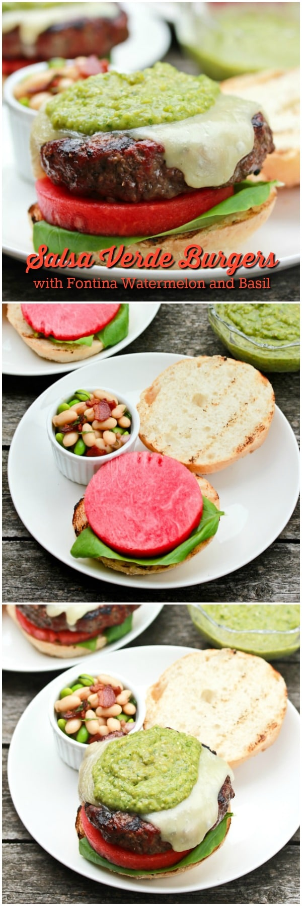 Salsa Verde Burgers with Watermelon and Basil Recipe #ASpicyPerspective