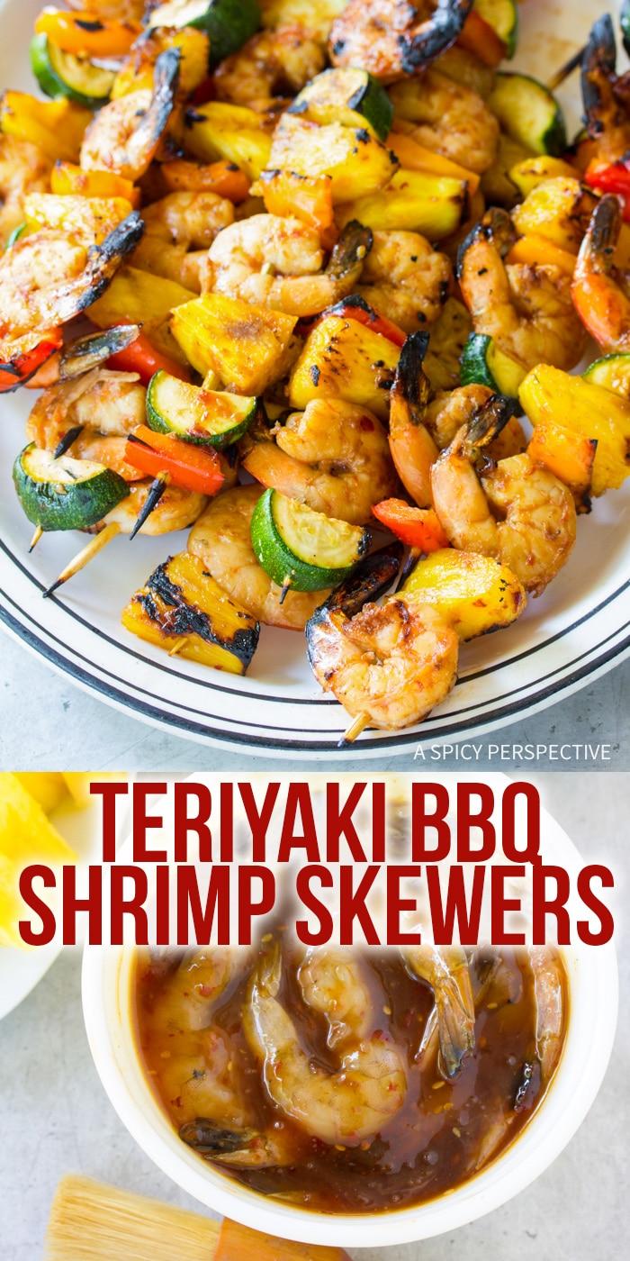 Light Teriyaki BBQ Shrimp Skewers Recipe #ASpicyPerspective #healthy