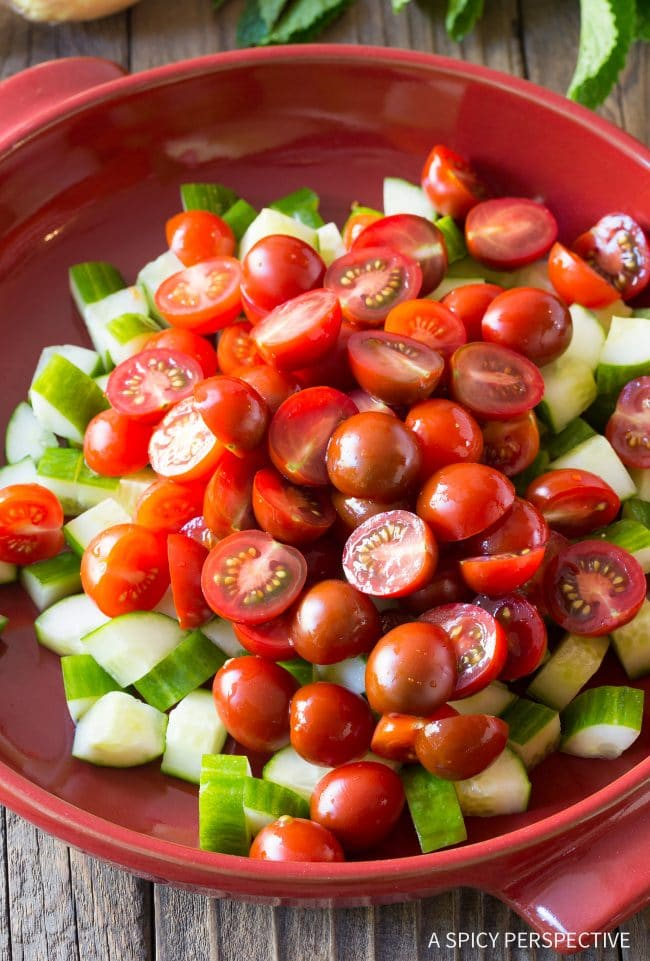 Making Chopped Israeli Salad with Lemon Vinaigrette Recipe #LowCarb #GlutenFree & #Vegan
