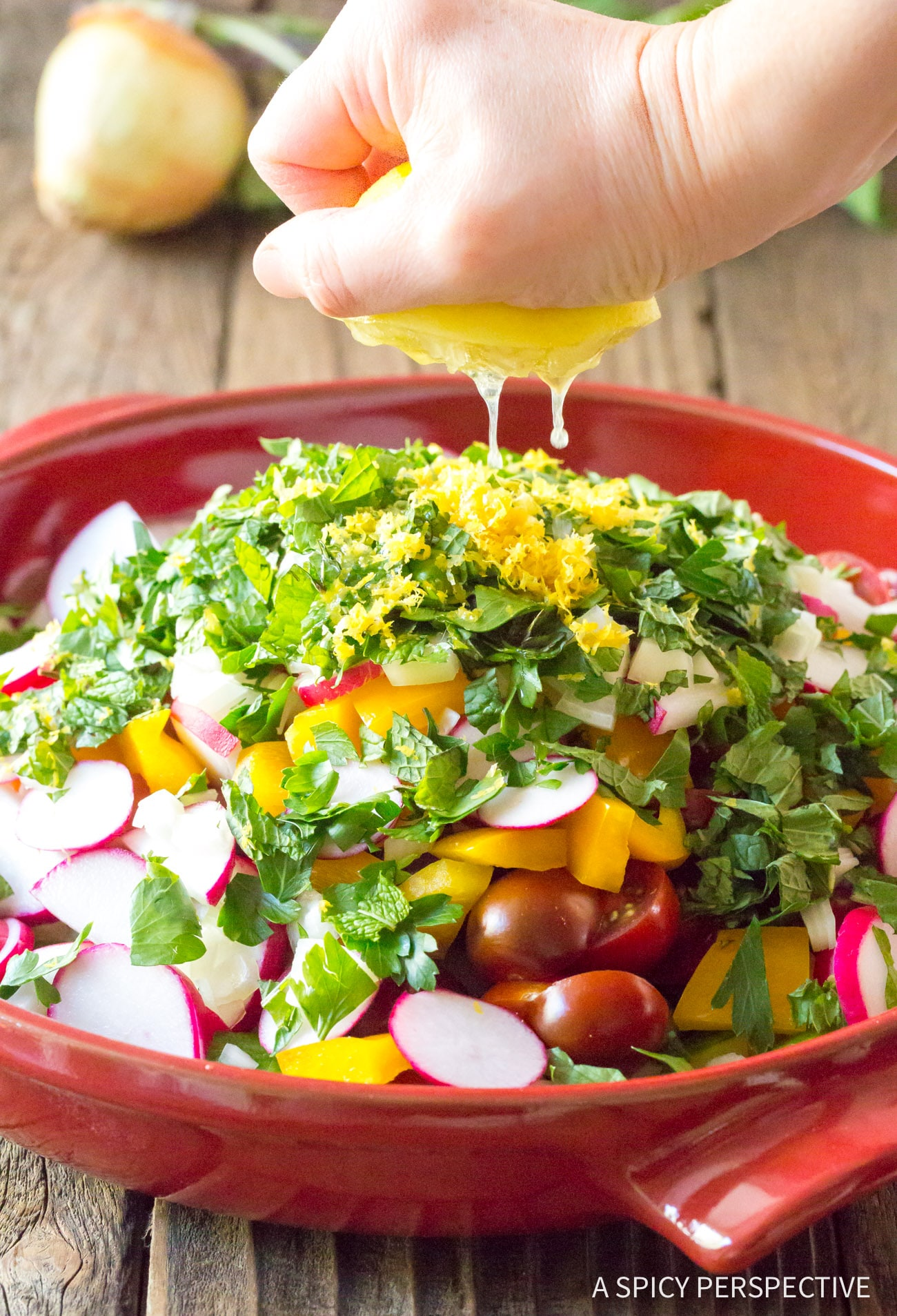 Perfect Chopped Israeli Salad with Lemon Vinaigrette Recipe #LowCarb #GlutenFree & #Vegan