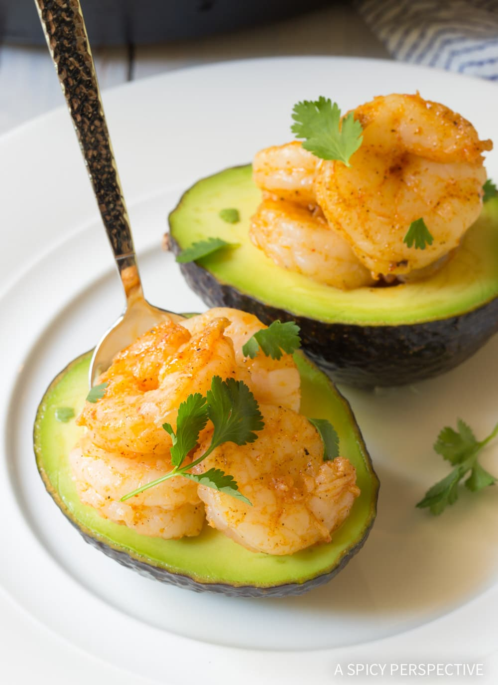 Healthy Keto Creole Shrimp Stuffed Avocado Recipe #ASpicyPerspective #ketogenic