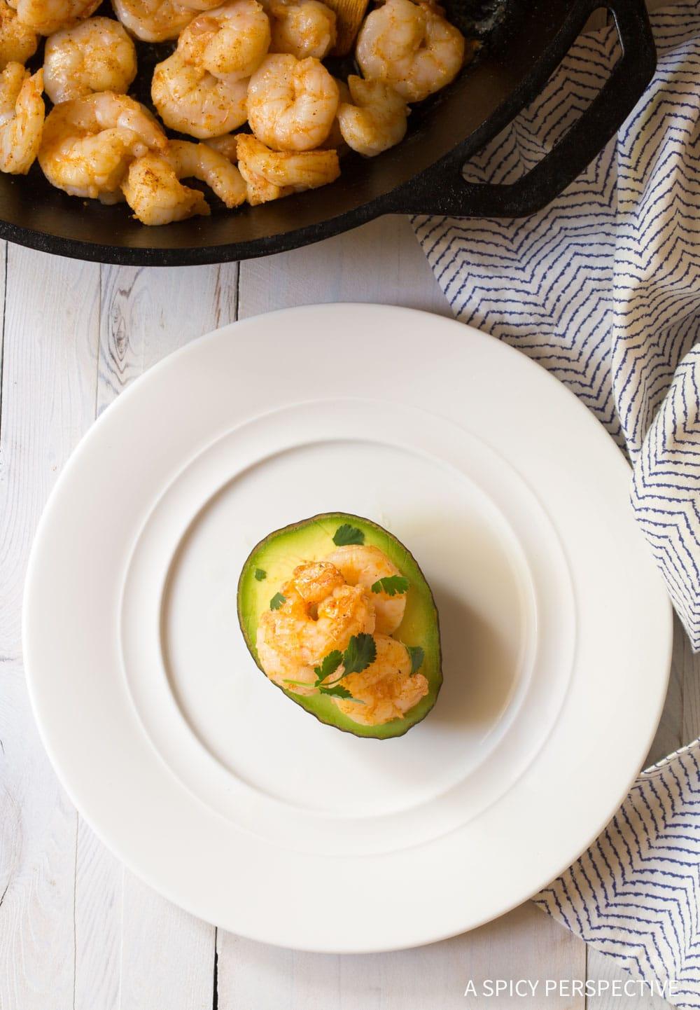 Zesty 6-Ingredient Keto Creole Shrimp Stuffed Avocado Recipe #ASpicyPerspective #ketogenic